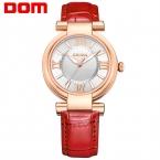 ДОМ женщины люксовый бренд водонепроницаемый стиль кварцевые кожа часы дамской одежды часы  reloj
