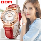 Часы Женщины ДОМ марка роскошные Мода Повседневная кварцевые часы кожа Леди спорта relojes mujer женщины наручные часы Платье Девушки