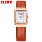 ДОМ женщины кожа золотые часы люксовый бренд водонепроницаемый стиль кварцевые часы Площади G-1089