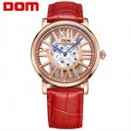 ДОМ часы люксовый бренд водонепроницаемый стиль кожа золото скелет кварцевые часы женщины
