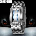 Luxury Влюбленных Наручные Часы Водонепроницаемые Мужчины Женщины Из Нержавеющей Стали Синий Двоичной Световой Электронный Дисплей LED Спортивные Часы Мода