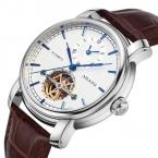 Reloj Hombre AILANG Марка Повседневная Бизнес Смотреть Мужчины Водонепроницаемый Кожаный ремешок механические Мужские Часы Dual time display Часы человек