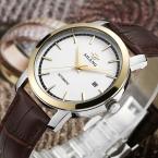 AILANG Автоматические Механические часы мужчины Моды Случайные Бизнес часы водонепроницаемые кожаный ремешок наручные часы эркек кол саати