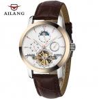 AILANG Бренд мужской Moon Phase Автоматические Механические Часы Мужчины Моды Случайные Бизнес Наручные Часы спорт Кожаный ремешок часы