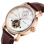 AILANG Бренд Моды Случайные Бизнес Часы Мужчины Водонепроницаемый Кожаный ремешок механические Мужские Часы Dual time display Часы relojes