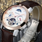 AILANG Марка Мужские Механические Часы Водонепроницаемые Мода Повседневная Часы Мужчина Кожаный Ремешок Бизнес Наручные часы Relogio Masculino