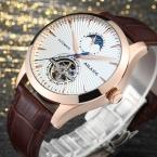 AILANG moon phase Автоматические Механические часы мужчины Моды Случайные Спортивные часы водонепроницаемый кожаный ремешок наручные часы reloj hombre