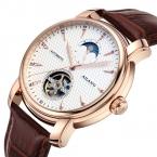 AILANG Бренд Моды Случайные Бизнес Часы Мужчины Водонепроницаемый Кожаный ремешок Tourbillon Moon Phase механические Мужские Часы relojes