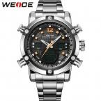 Мода спортивные часы мужчин из нержавеющей стали группа водонепроницаемый аналоговые 0,36-значный дисплей кварцевые большой циферблат часов часы мужчины наручные часы вайде