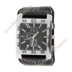 Модные водонепроницаемые кварцевые часы с широким кожаным черным ремешком (Чёрный)