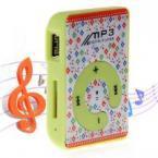 Стильный мини цифровой MP3 Плеер с поддержкой TF карт, креплением, встроенной литиевой батареей - в зеленом цвете