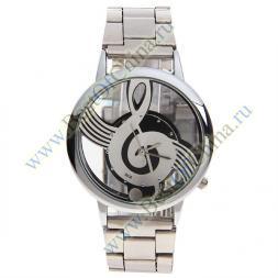 Наручные часы для мужчин Chic Bolun A2190 с изображением скрипичного ключа на циферблате - серебристые