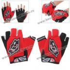 Нейлоновые перчатки без пальцев 555 для езды на велосипеде - красные