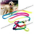 Цветной нейлоновый регулируемый поводок с ремешком вокруг плеч для собак