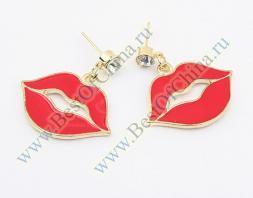Очаровательные женские сережки в форме красных губ