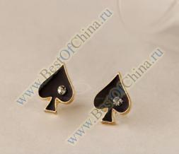 Стильные женские сережки/гвоздики в форме мастей игральных карт со стразами