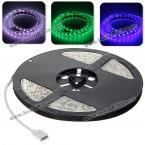 Эластичная светящаяся лента с пультом управления: 5м, 300 светодиодов 3528 SMD, RGB свет(DC12V)