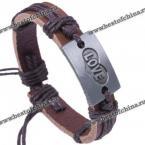Кожаный, женский браслет с романтичной надписью.