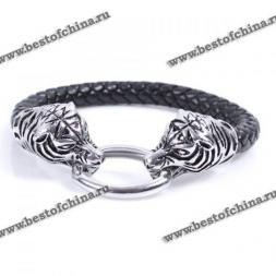 Изысканный, кожаный браслет украшенный двумя тиграми.